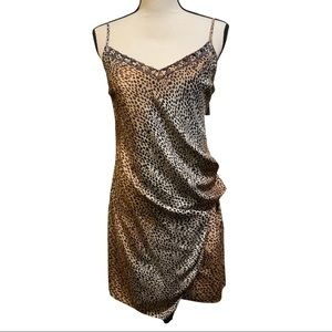 Anthro Animal Print Silk Sinched Slip Mini Dress